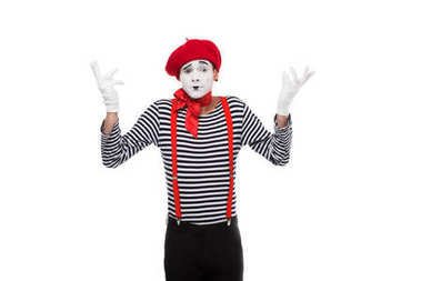 mime showing shrug gesture isolated on white
