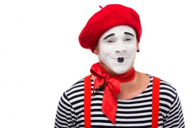 happy mime looking at camera isolated on white