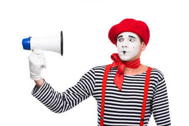 scared mime looking at megaphone isolated on white