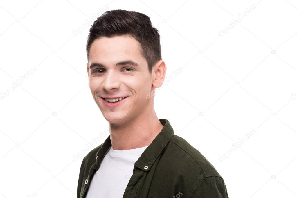 smiling man looking at camera isolated on white