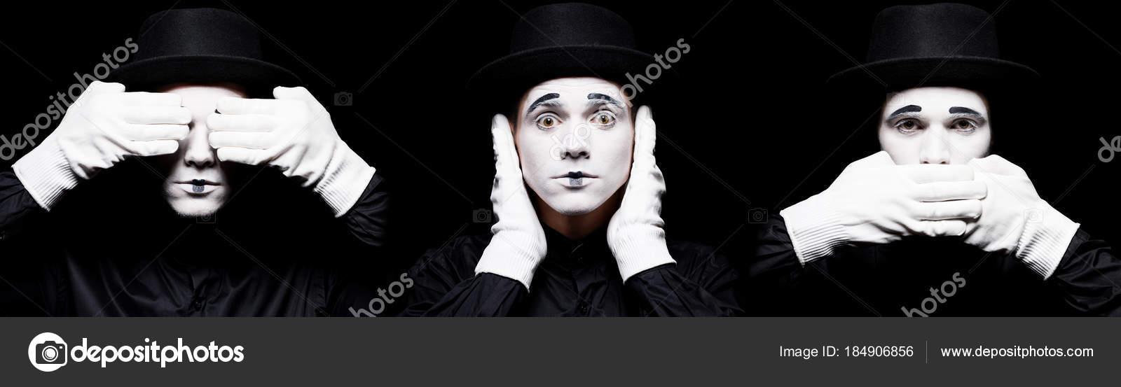 Mime Showing See Evil Hear Evil Speak Evil Isolated Black Stock