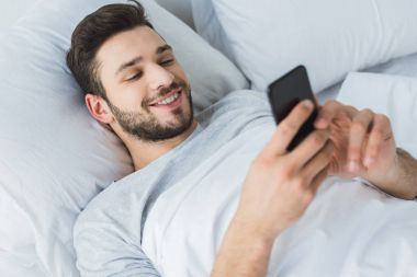 Happy bearded man using smartphone in bed in the morning stock vector