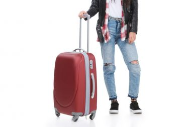 cropped shot of stylish woman with luggage isolated on white