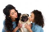 Fotografie Mutter und Tochter küssen süße Mops isoliert auf weiss