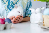 Húsvéti nyuszi női kéz a tojás a táblázat Húsvétra