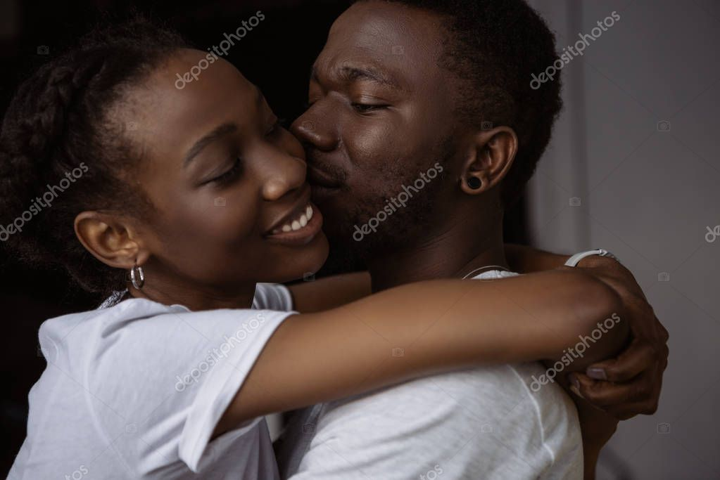 Beautiful happy african american couple hugging and kissing at home stock vector