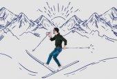 Fotografie kreative handgezeichneten Collage mit Mann in verschneiten Bergen Skifahren