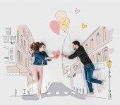kreatív kézzel rajzolt kollázs, pár bemutató Valentin napi ajándékok, egymással