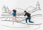 Fotografia disegnata a mano creativa di collage con coppie che funzionano da paesaggio delle montagne