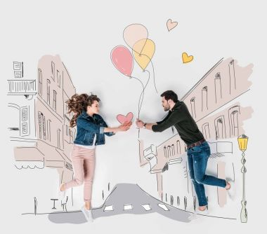 creative hand drawn collage with couple presenting valentines day gifts to each other