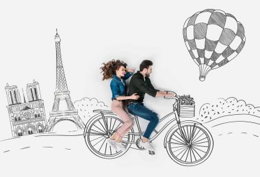 creative hand drawn collage with couple riding bike together at paris