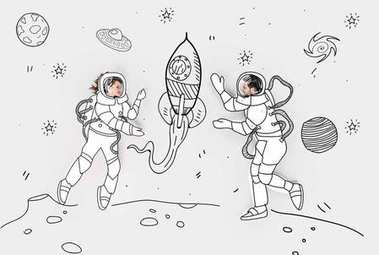 Creative hand drawn collage with couple in space suits and rocket stock vector