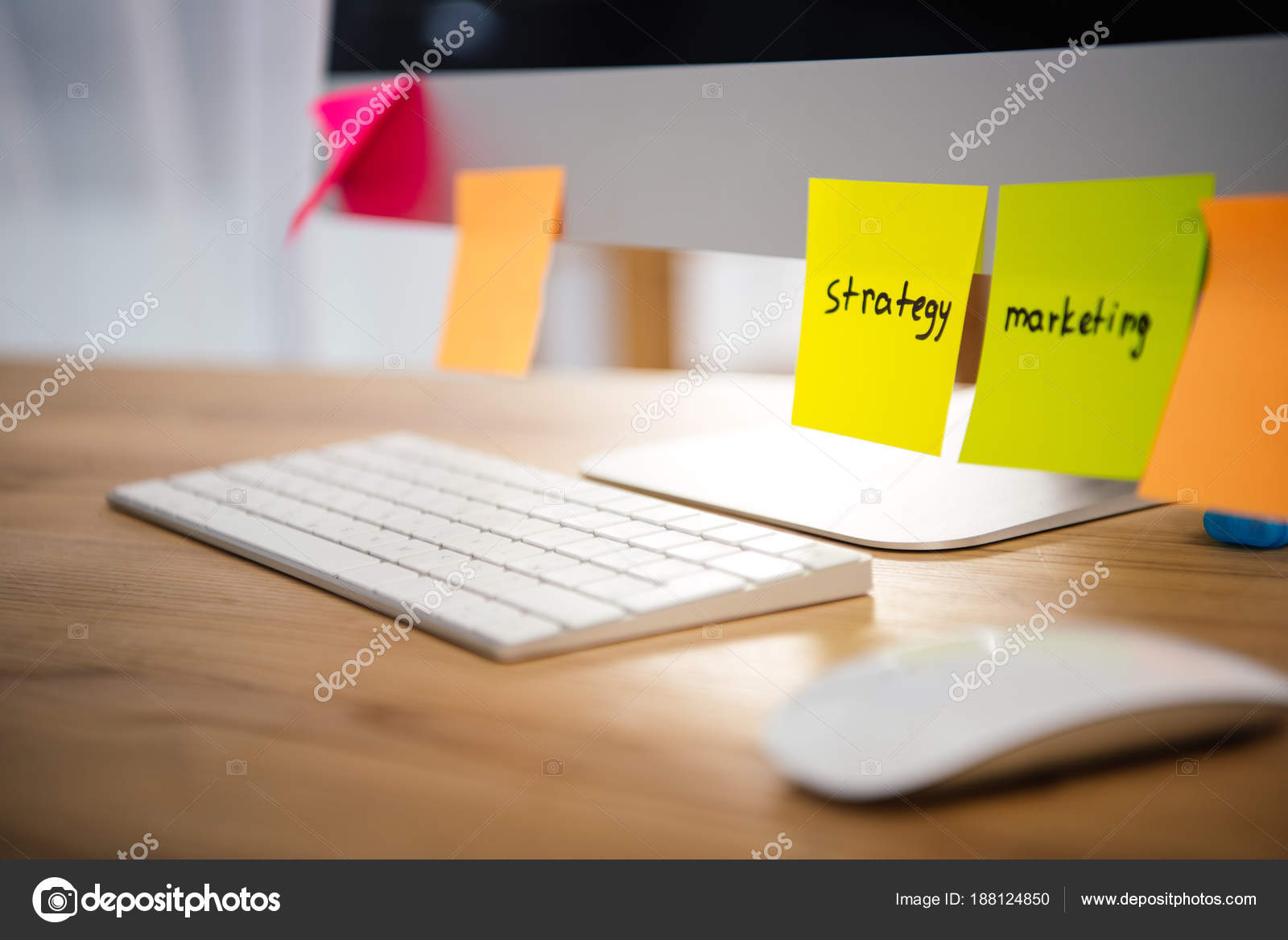 Close View Colorful Sticky Notes Marketing Strategy Lettering
