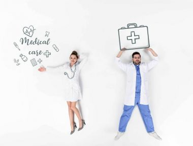 creative collage of male and female doctors with various hand-drawn medical signs and medical care inscription