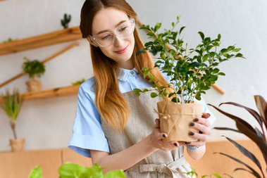 beautiful smiling young florist holding green houseplant in flower shop