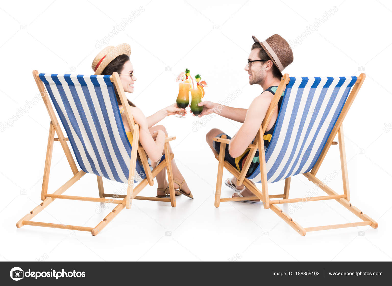 Images Sitting On Beach Couple Sitting Beach Chairs Clinking Cocktail Glasses Isolated White Stock Photo C Allaserebrina 188859102