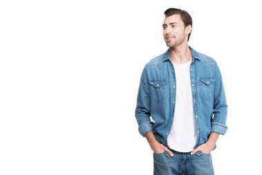 young handsome man in jeans, isolated on white