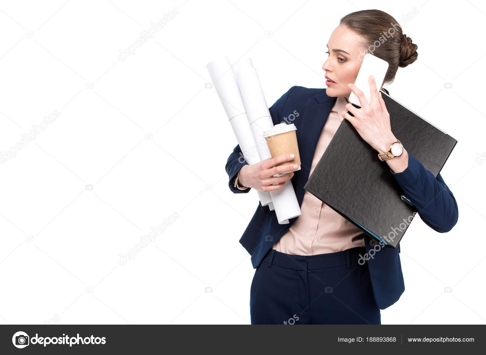 Overworked Adult Businesswoman Lot Paperwork Coffee Talking