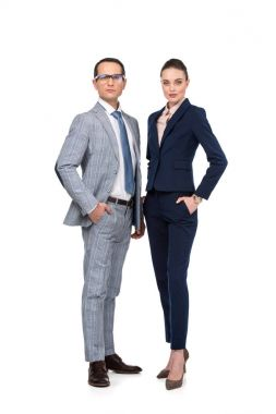 stylish adult business colleagues looking at camera isolated on white