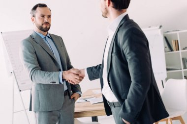 handsome businessmen shaking hands in office