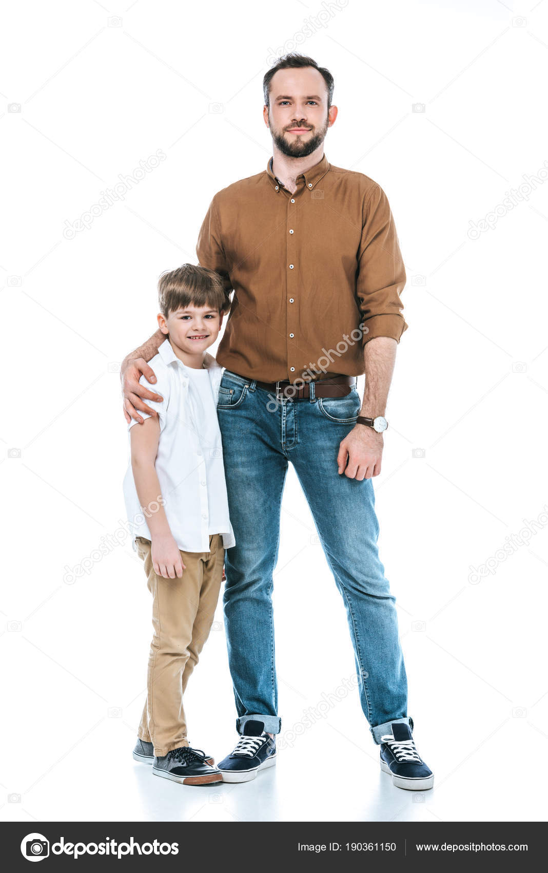 7ebfef7f7 Full Length View Happy Father Son Standing Together Smiling Camera — Stock  Photo