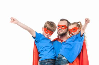 super father with children in masks and cloaks pretending to be superheroes isolated on white