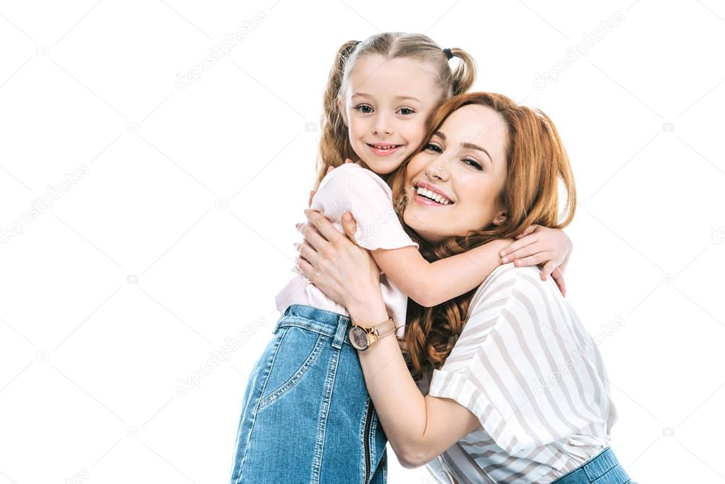 Beautiful happy mother and daughter hugging and smiling at camera isolated on white stock vector