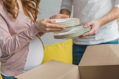 cropped shot of young pregnant couple packing plates in cardboard box during relocation