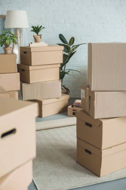 close up view of cardboard boxes in room
