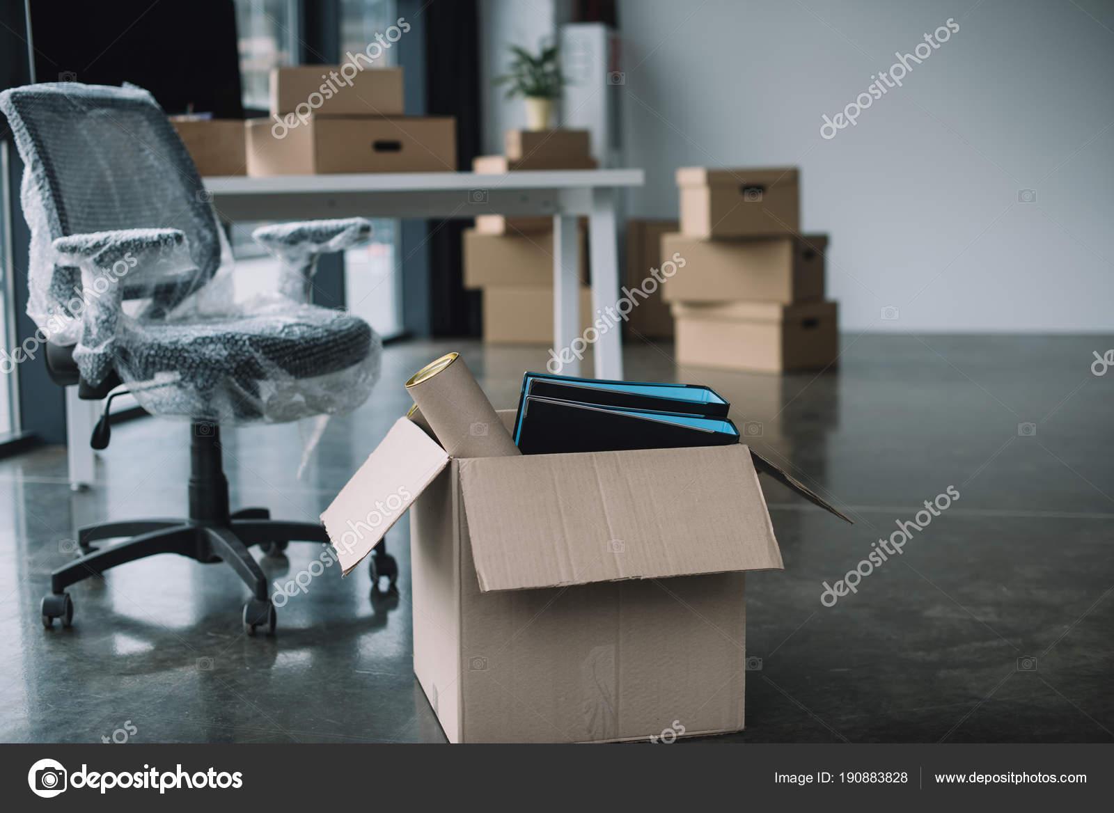 Cardboard Box Folders Office Supplies Floor Relocation — Stock Photo