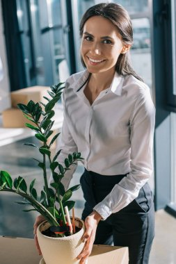 young businesswoman holding potted plant and smiling at camera in new office
