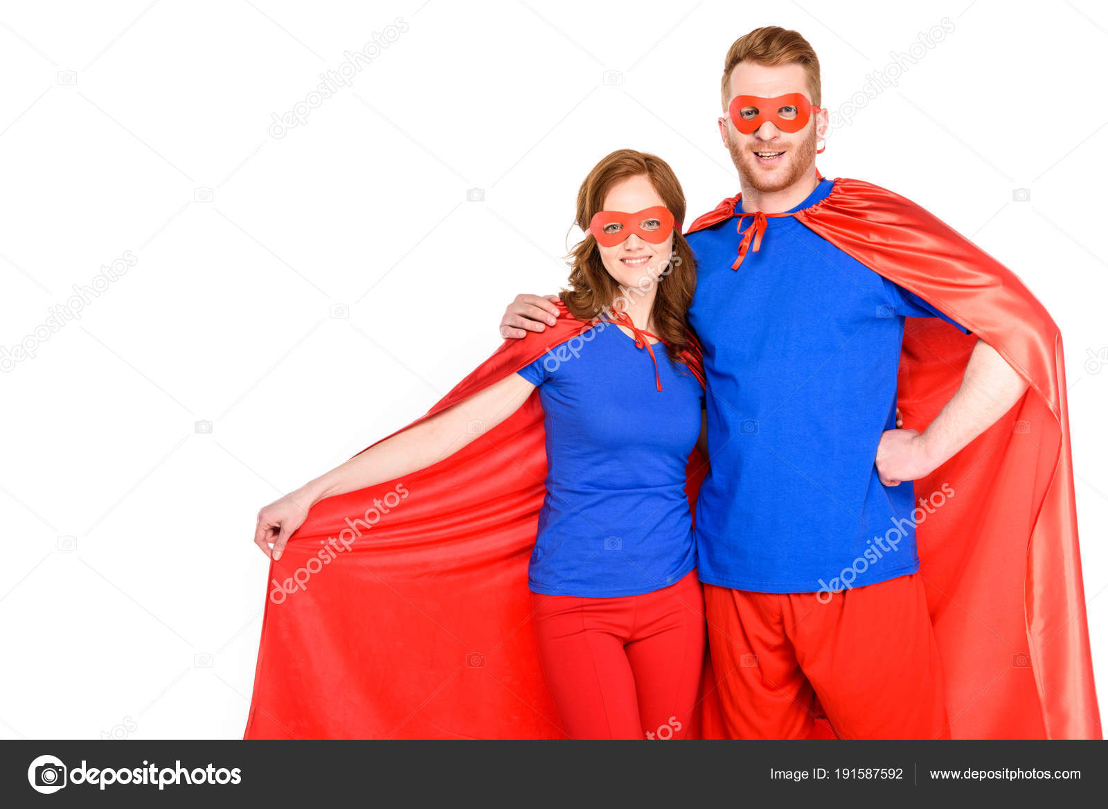 happy couple superheroes standing together smiling camera isolated