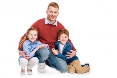 happy father with cute little kids smiling at camera isolated on white