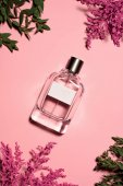 Fotografie top view of bottle of perfume with flowers and leaves on pink surface