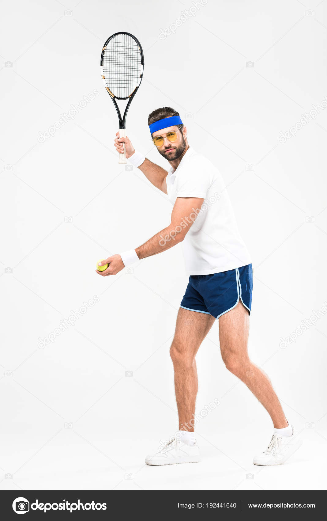 934c61373c5 Sportsman Retro Sunglasses Playing Tennis Racket Ball Isolated White —  Stock Photo
