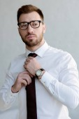 Fotografie confident businessman in tie and glasses posing near white wall