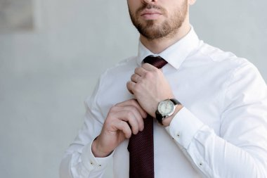 cropped view of businessman wearing tie near white wall