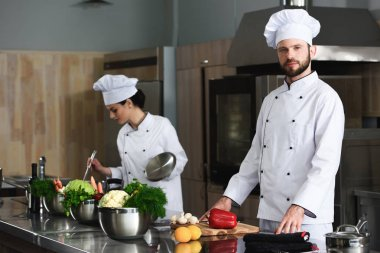 Professional team of cooks busy at modern restaurant kitchen