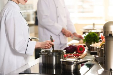 Professional team of cooks working together on modern kitchen