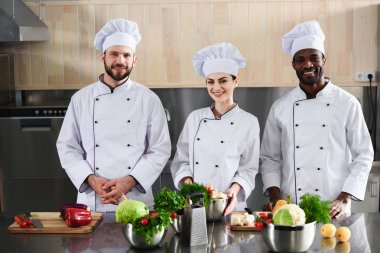 Multiracial chefs team smiling by modern kitchen counter