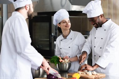 Multiracial team of cooks working together in restaurant kitchen