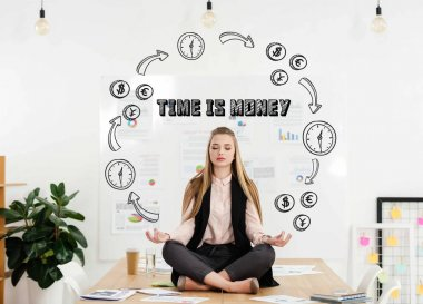 Calm businesswoman meditating in lotus position on table in office with time for money inscription and money and time circuit stock vector