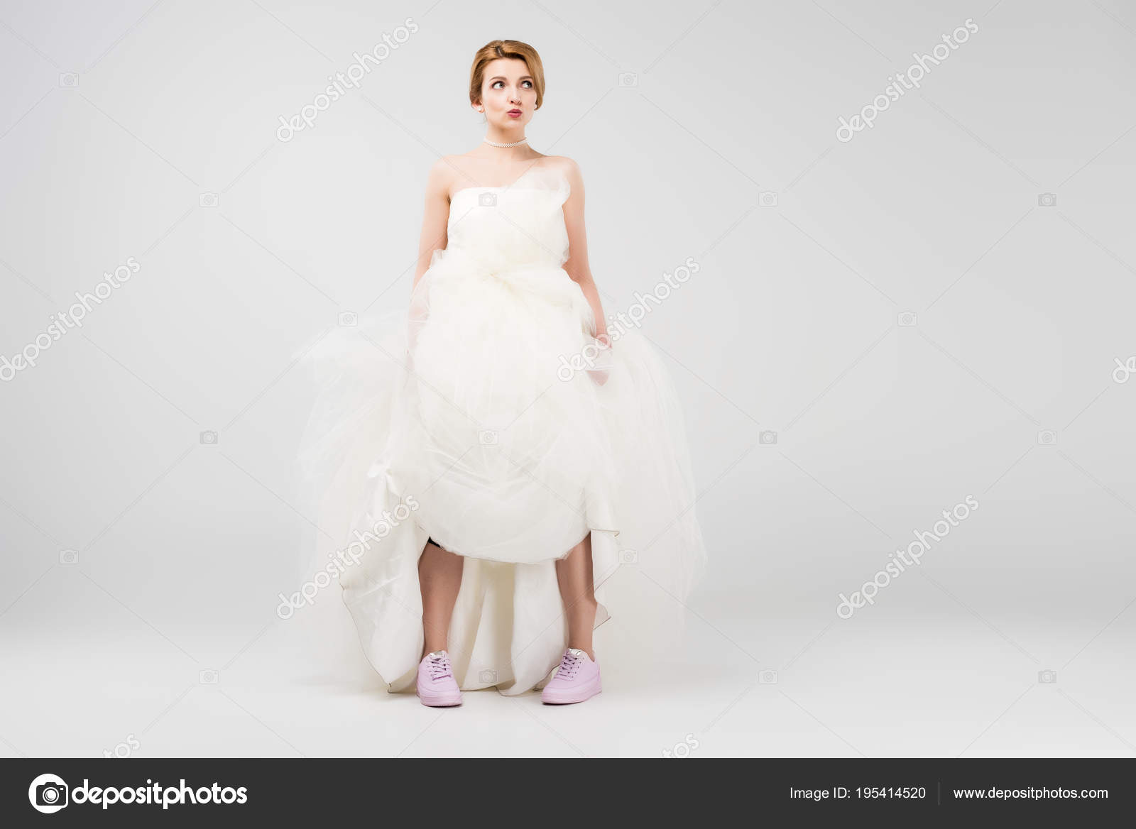 Happy Bride White Wedding Dress Pink Sneakers Isolated Grey Feminism ...