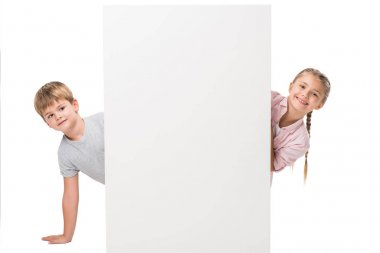 boy and girl with blank banner