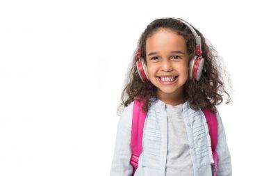 african american schoolgirl in headphones