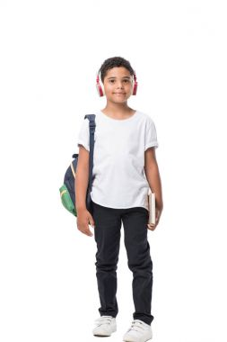African american schoolboy in headphones