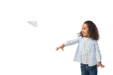 african american girl with paper plane