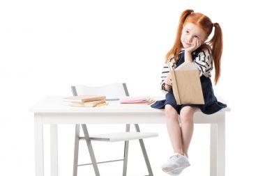 schoolgirl reading book