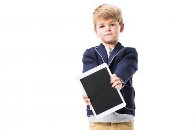 Boy holding digital tablet