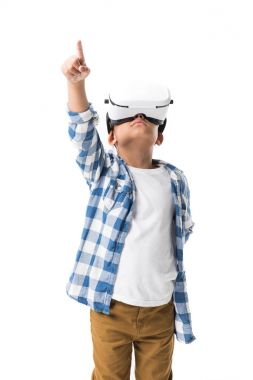 Boy in virtual reality headset